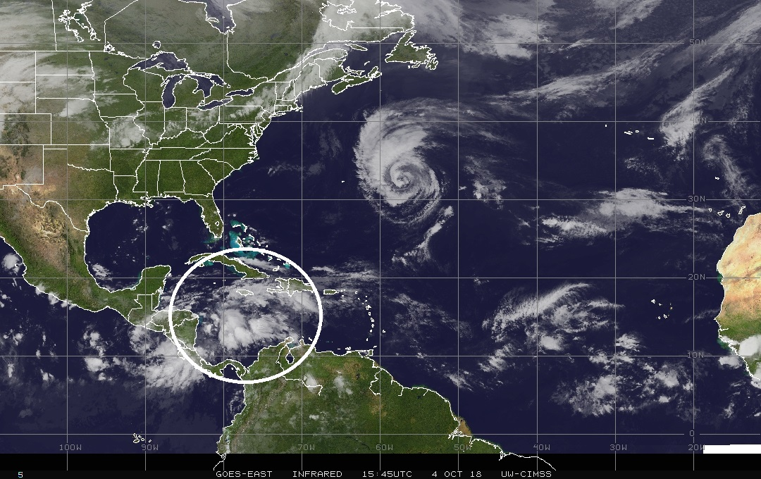 An area of interest in the Caribbean Sea (circled) where there is a tropical wave causing showers and thunderstorms. This system is increasingly likely to spill out over the Gulf of Mexico in coming days and perhaps have an impact on the Southeast US later next week. Meanwhile, Hurricane Leslie is located in the central Atlantic and it should not become a threat to the US.; courtesy NOAA, Wisconsin/CIMMS