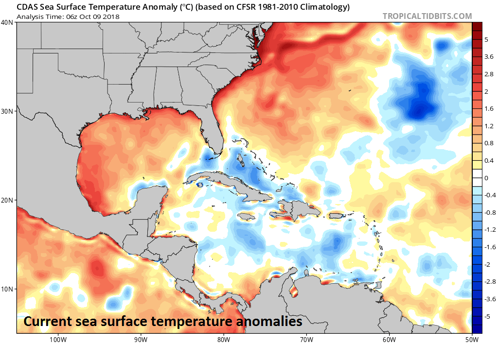 Very warm waters in the Gulf of Mexico are helping to fuel the intensification of Hurricane Michael; courtesy NOAA, tropicaltidbits.com