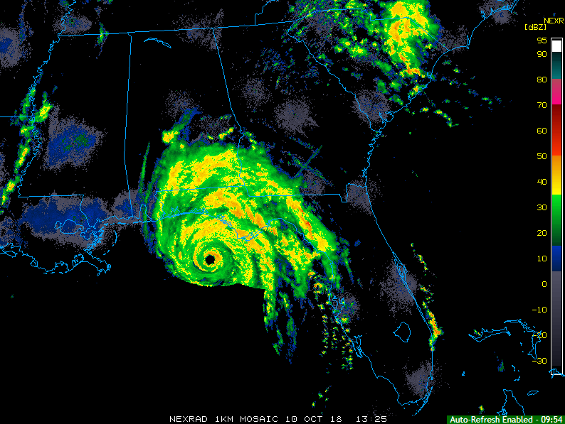 Latest radar image with a clear look at the eye of Hurricane Michael; courtesy NOAA
