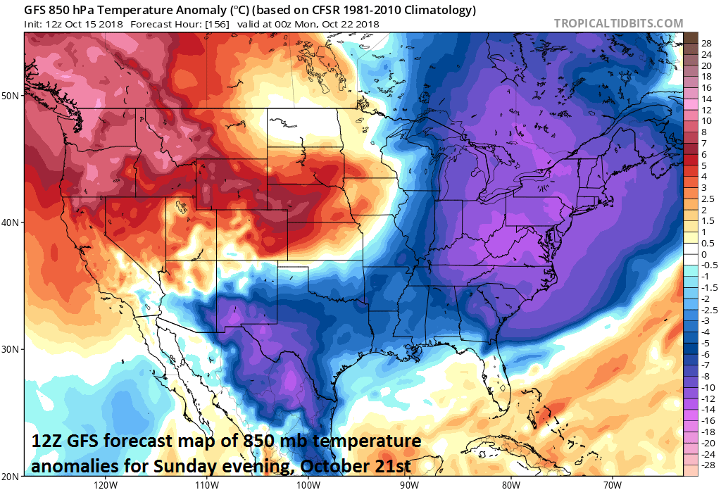 It'll turn much cooler tomorrow in the Mid-Atlantic region, even colder on Thursday, and perhaps the coldest weather will take place on Sunday; courtesy NOAA, tropicaltidbits.com