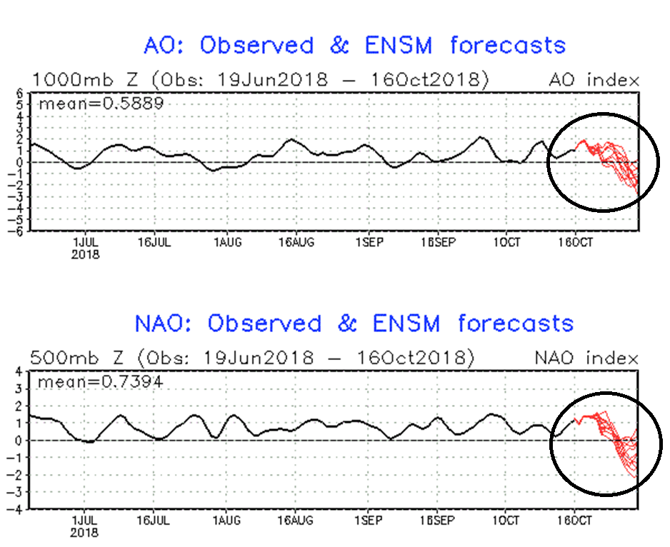 AO (top) and NAO (bottom) indices tank sharply by the end of the month (observed in black, forecast in red); courtesy NOAA