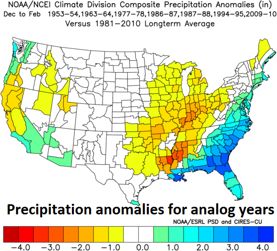 Precipitation anomalies for analog years featuring weak-to-moderate El Nino conditions in the central Pacific Ocean along with low solar activity; courtesy NOAA