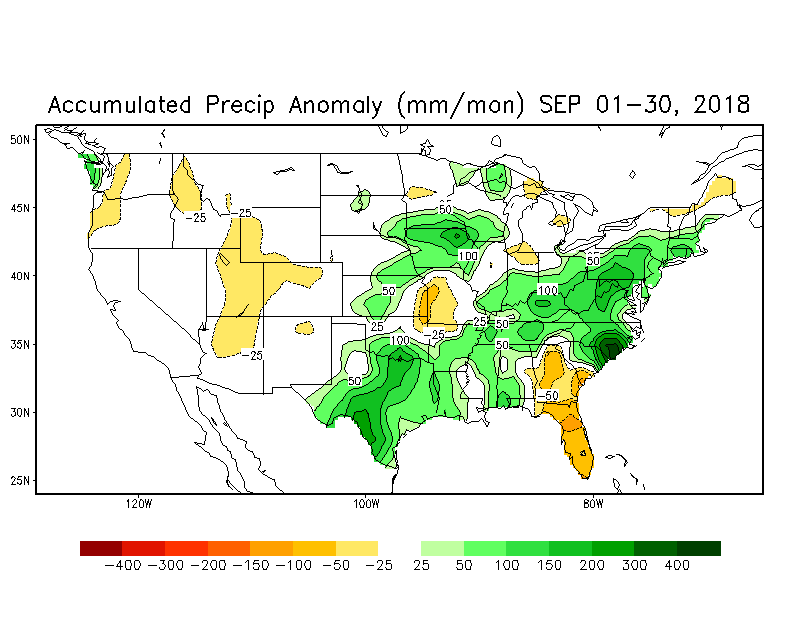 Soil moisture anomalies for the month of September with high levels in much of the eastern half of the nation; courtesy NOAA