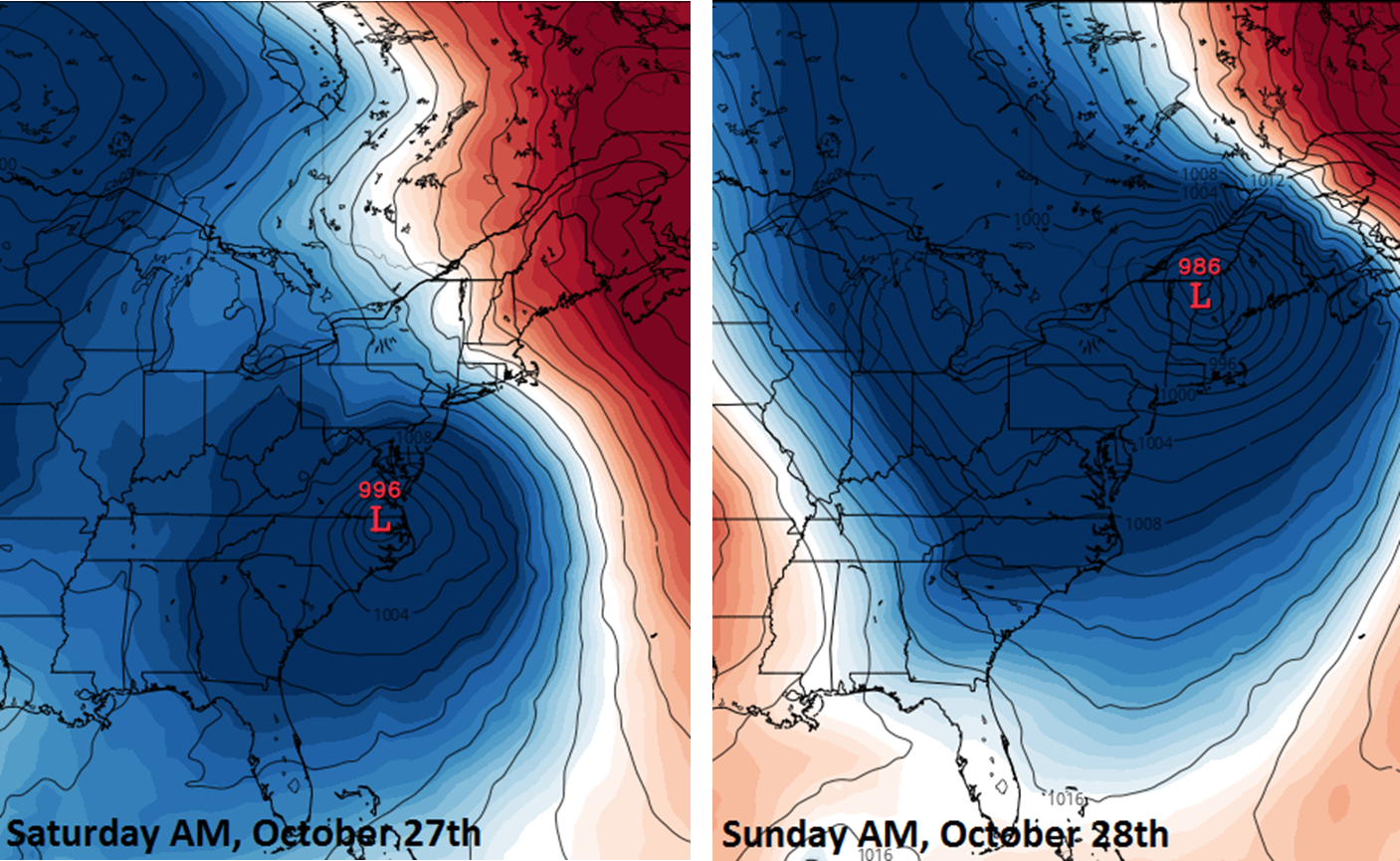 12Z Euro surface forecast maps for Saturday AM October 27th (left) and Sunday AM October 28th (right) with an intensifying low pressure system near the east coast; courtesy tropicaltidbits.com, ECMWF