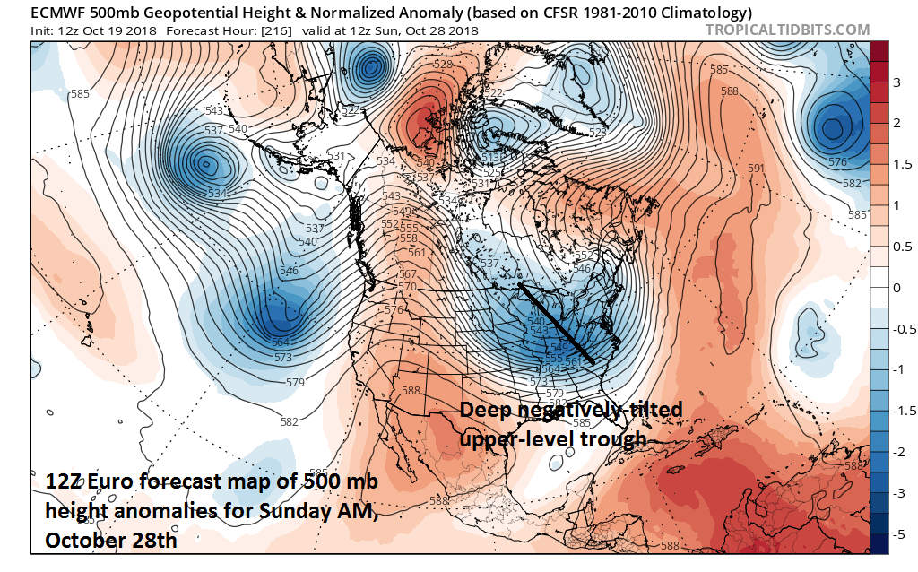 12Z Euro forecast map of 500 mb height anomalies for Sunday, October 28th with a deep upper-level trough in the eastern US. courtesy tropicaltidbits.com, ECMWF