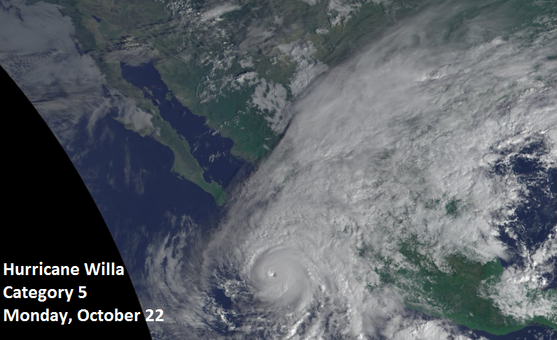 Latest satellite image of Hurricane Willa in the northeastern Pacific Ocean now classified as a category 5; courtesy NOAA