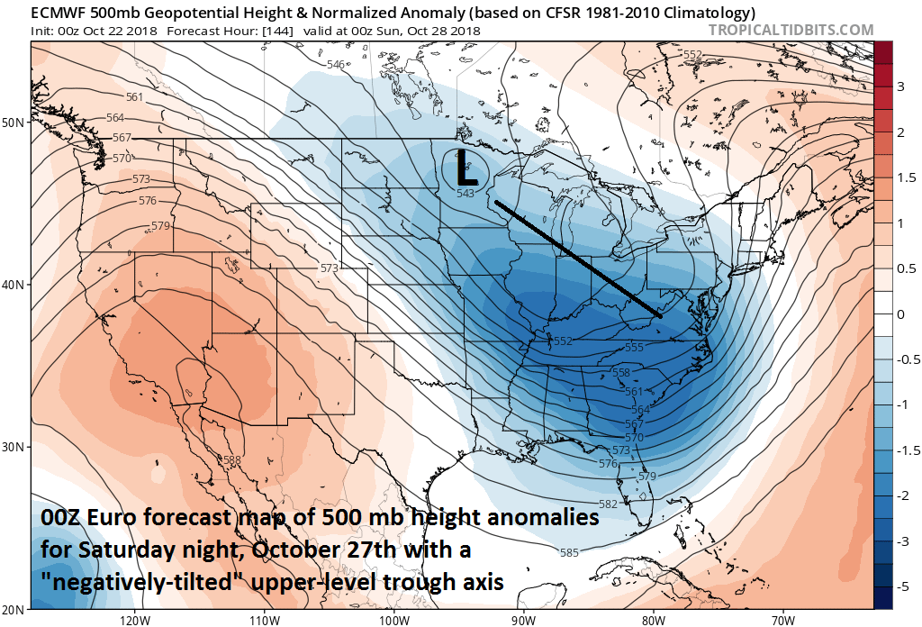 Very potent upper-level pattern setting up for the weekend; courtesy NOAA, tropicaltidbits.com