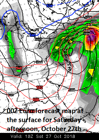 00Z Euro forecast map for Saturday afternoon with a strong storm right over the Mid-Atlantic coastline; courtesy ECMWF, WSI, Inc.