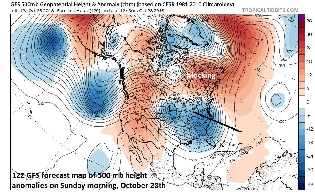 Very deep and large low pressure trough will form in the eastern US this weekend; courtesy NOAA/EMC, tropicaltidbits.com