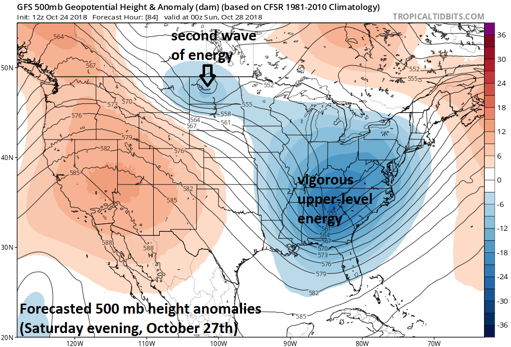 Two waves of energy will impact the eastern US over the next few days. The first wave will help to produce a strong low pressure system along the east coast from later Friday into late Saturday. The second system will generate additional showers in the Mid-Atlantic from late Sunday into Monday as it rotates through the large-scale upper-level trough. Courtesy NOAA, tropicaltidbits.com