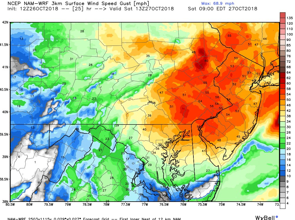 12 NAM-WRF (high-resolution) model forecast of wind gusts at 9 AM Saturday with 50+ mph extending from coastal NJ to interior PA; courtesy NOAA/Weather Bell Analytics