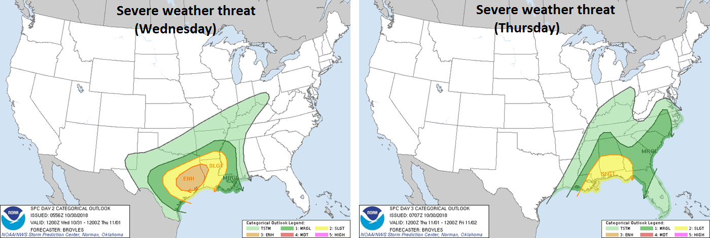 Severe weather will become a threat on Wednesday and Thursday across much of the southern US; courtesy NOAA/SPC