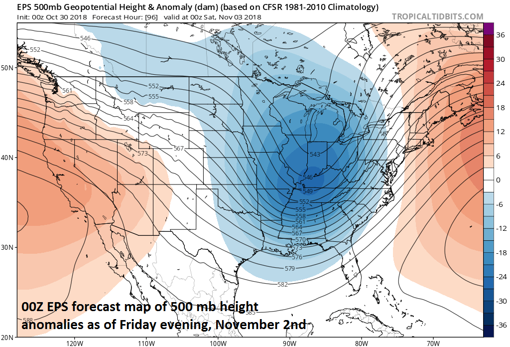 00Z Euro ensemble forecast map of 500 mb height anomalies features a deep upper-level trough at the end of the week; courtesy ECMWF, tropicaltidbits.com