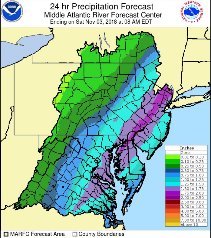 Strong upward motion in the Mid-Atlantic region will help generate heavy rainfall in the DC-to-Philly-to-NYC corridor between now and Saturday morning; courtesy NOAA