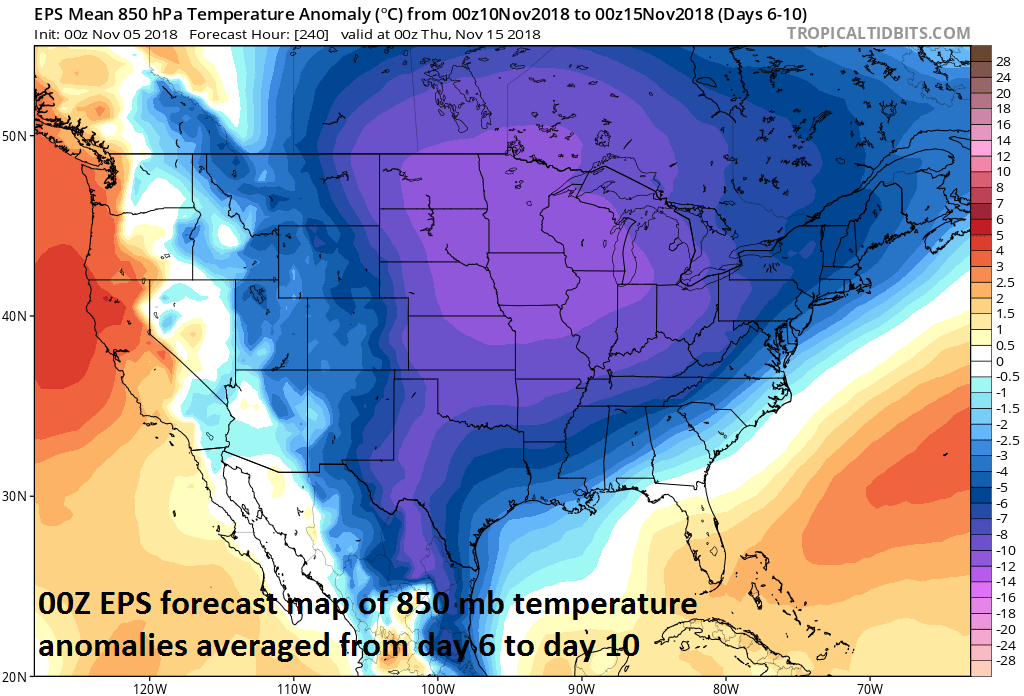 00Z Euro ensemble model forecast map of 850 mb temperature anomalies averaged over the 5-day period from day 6 (Saturday, November 10) to day 10 (Thursday, November 15); courtesy ECMWF, tropicaltidbits.com