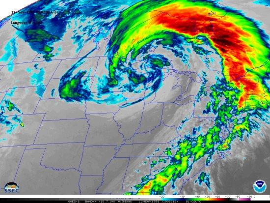 Colorized IR satellite image on November 10, 1975; courtesy University of Wisconsin, NOAA
