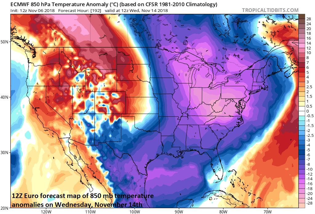 Widespread colder-than-normal air by the middle of next week in the eastern half of the nation; courtesy ECMWF, tropicaltidbits.com