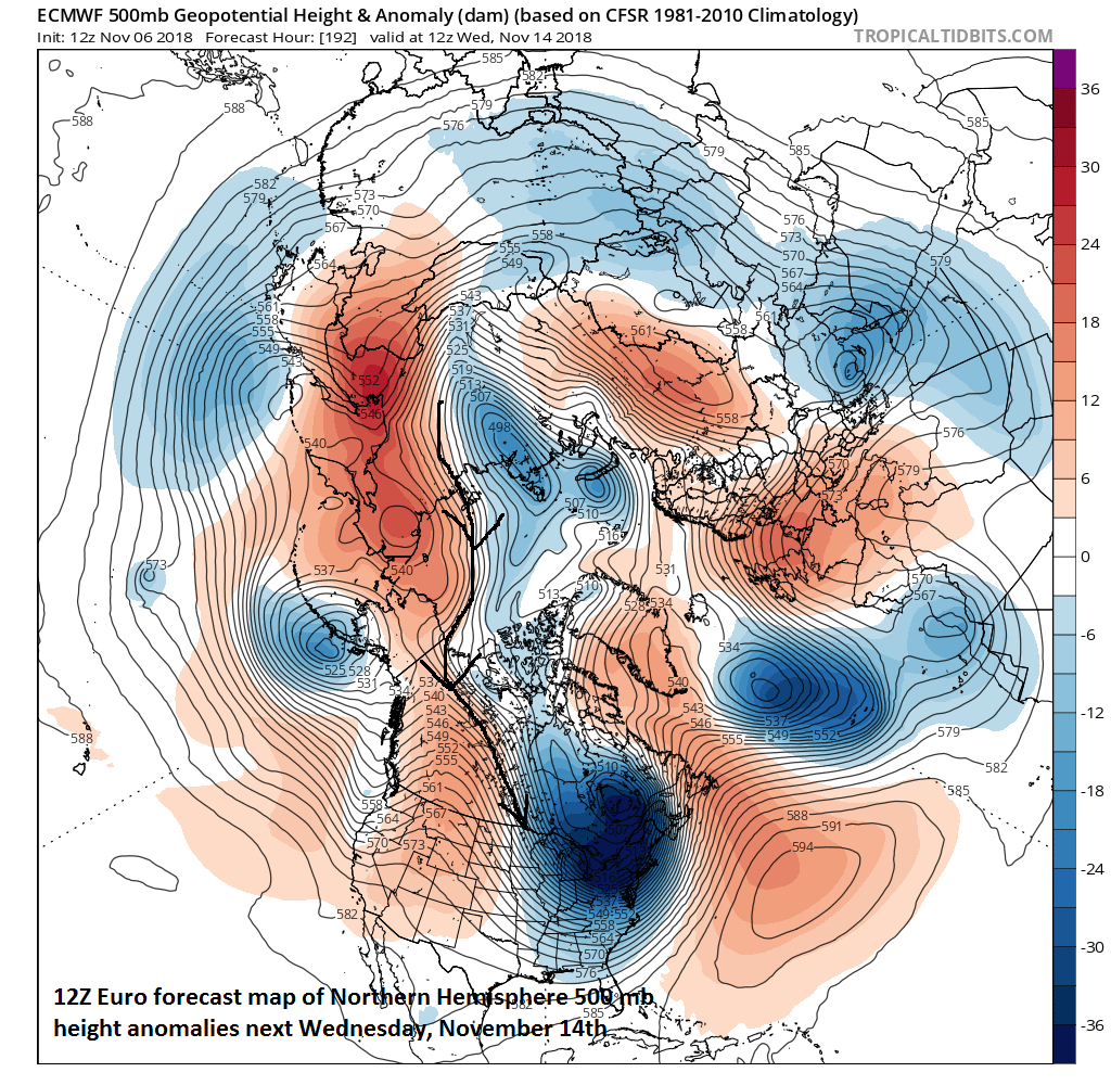 The flow of air at 500 mb by the middle of next week moves air from Siberia to the central US; courtesy ECMWF, tropicaltidbits.com