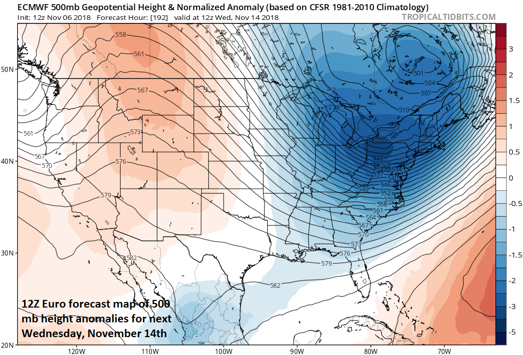 12Z Euro features a deep upper-level low in the Northeast US during the middle of next week; courtesy ECMWF, tropicaltidbits.com
