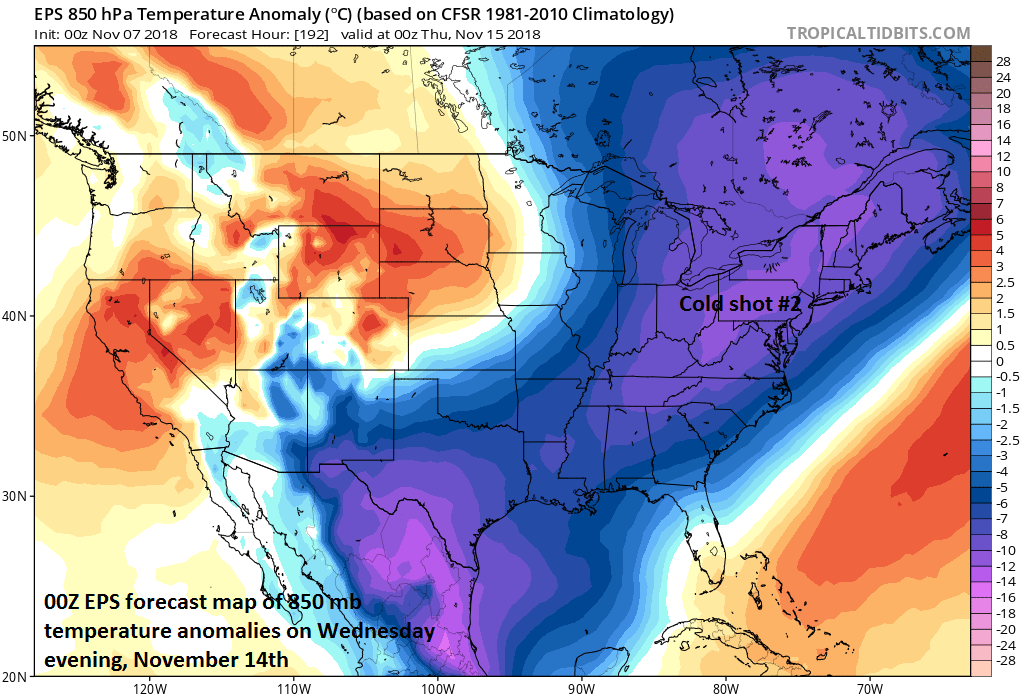 Cold shot #2 reaches the eastern US by the middle of next week; courtesy ECMWF, tropicaltidbits.com