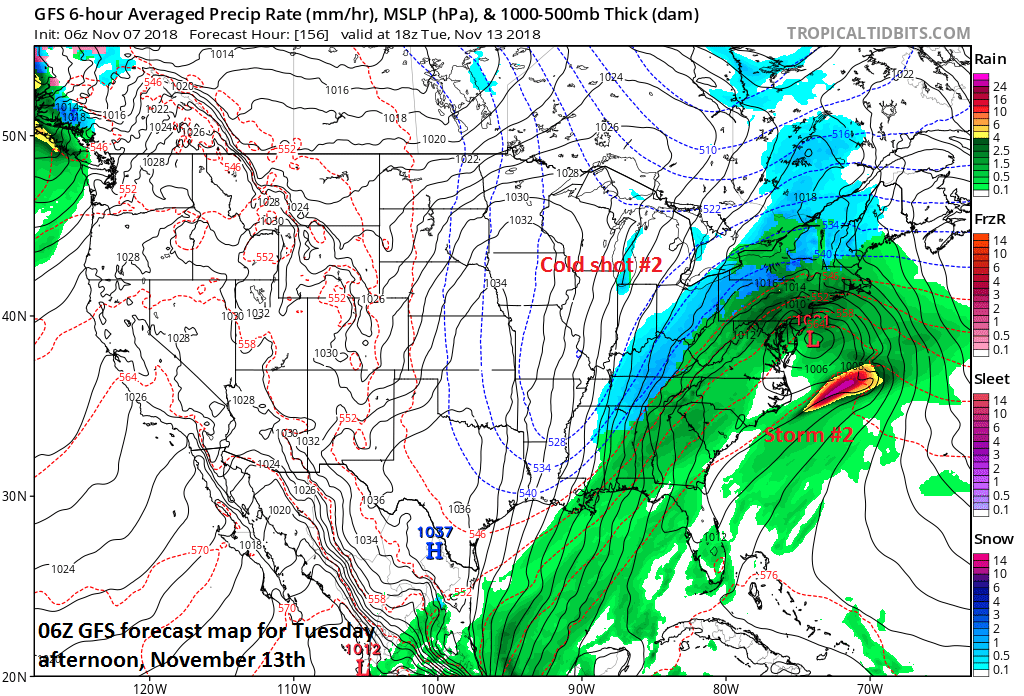 Storm #2 to be followed by cold shot #2; courtesy NOAA/EMC, tropicaltidbits.com