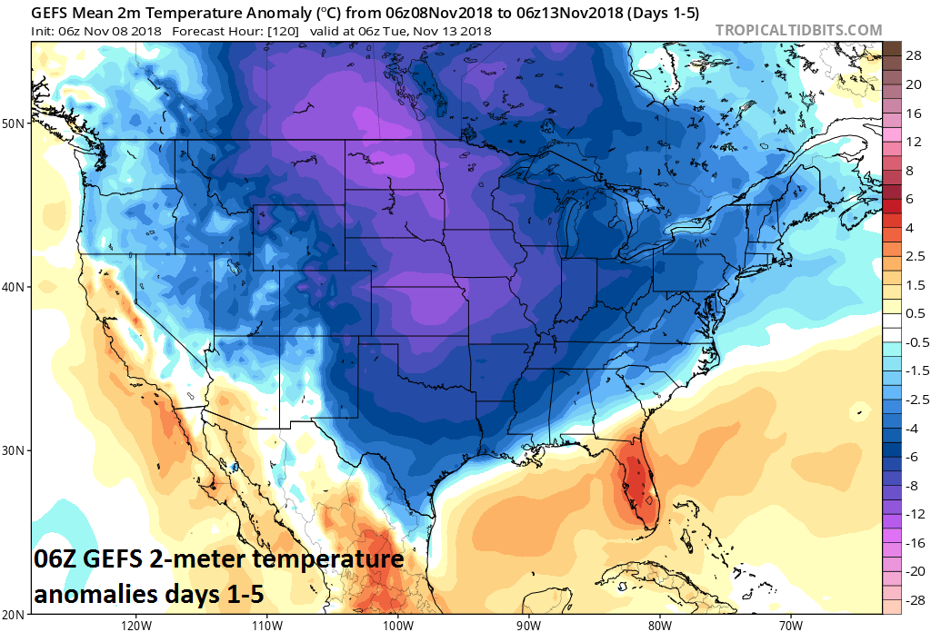 06Z GEFS 2-meter temperature anomalies averaged out over days 1-5; courtesy NOAA/EMC, tropicaltidbits.com