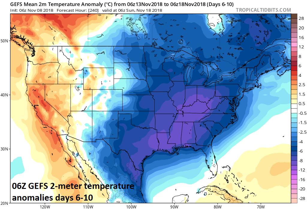 06Z GEFS 2-meter temperature anomalies averaged out over days 6-10; courtesy NOAA/EMC, tropicaltidbits.com
