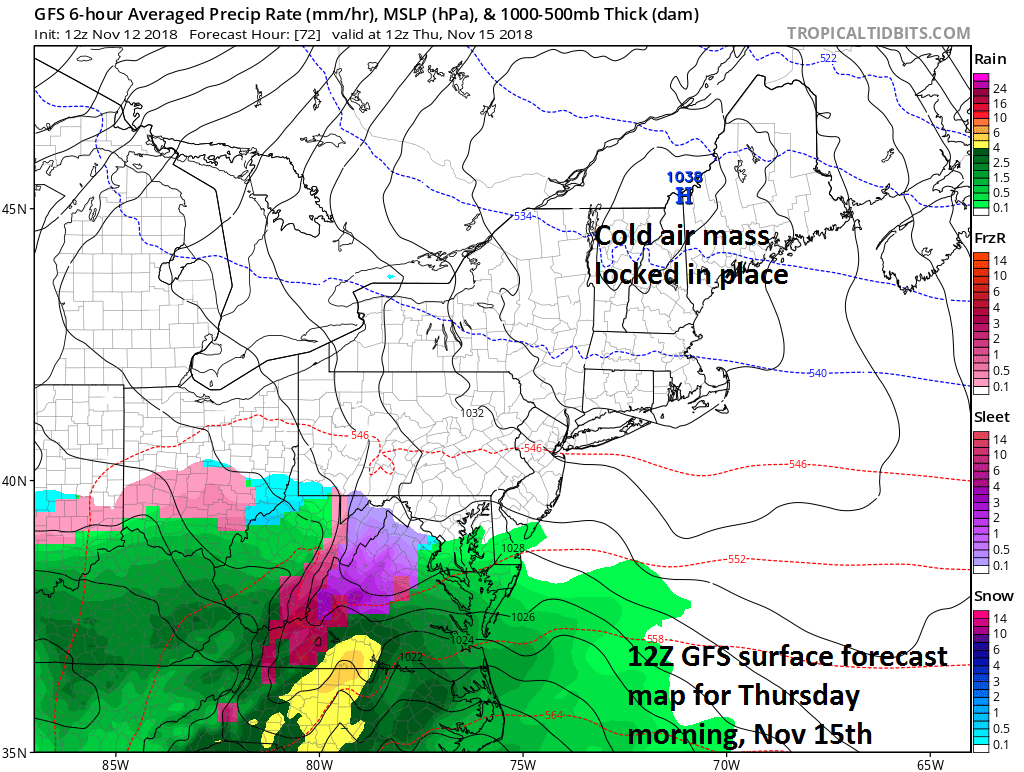 As moisture arrives in the DC-to-Philly-to-NYC corridor on Thursday, enough cold air may be in place for the season's first encounter with wintry precipitation; courtesy NOAA/EMC, tropicaltidbits.com
