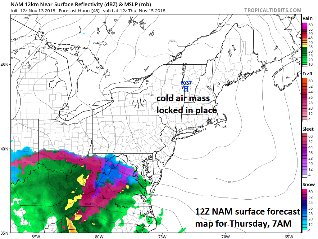 12Z NAM forecast map for Thursday 7AM with cold high pressure situated over New England and precipitation on the doorstep of the DC metro region; courtesy NOAA/EMC, tropicaltidbits.com