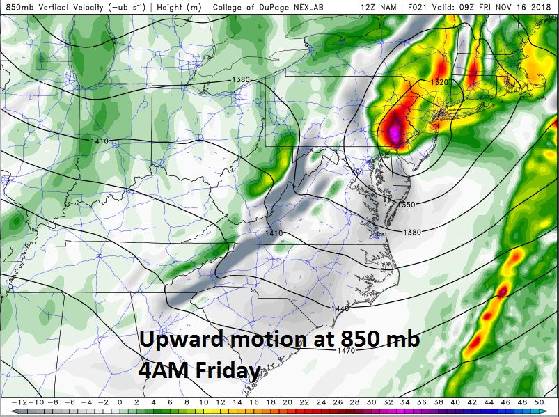 Possible heavy burst of precipitation later tonight associated with 850 mb upward motion; courtesy NOAA/EMC (NAM model), College of DuPage