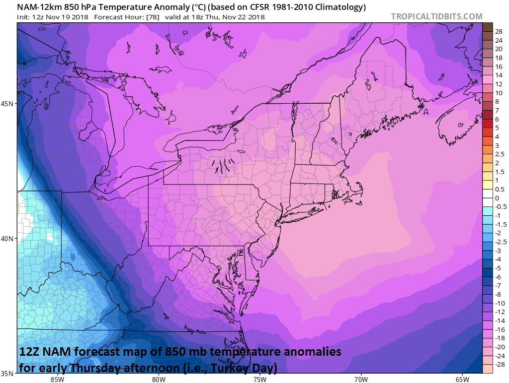 12Z NAM forecast map of 850 mb temperature anomalies at 1PM on Thanksgiving Day; courtesy NOAA/EMC, tropicaltidbits.com