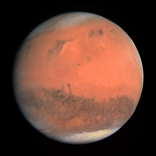High-resolution image of Mars; courtesy Wikipedia