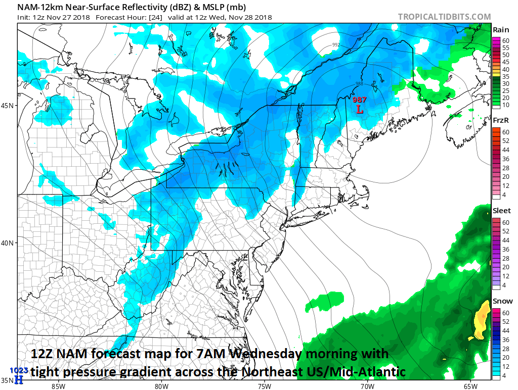 Winds could gust to 50 mph in some areas of the Mid-Atlantic from late tonight into Wednesday afternoon as the pressure gradient tightens between low pressure over Maine and high pressure over the Ohio Valley; courtesy NOAA/EMC, tropicaltidbits.com