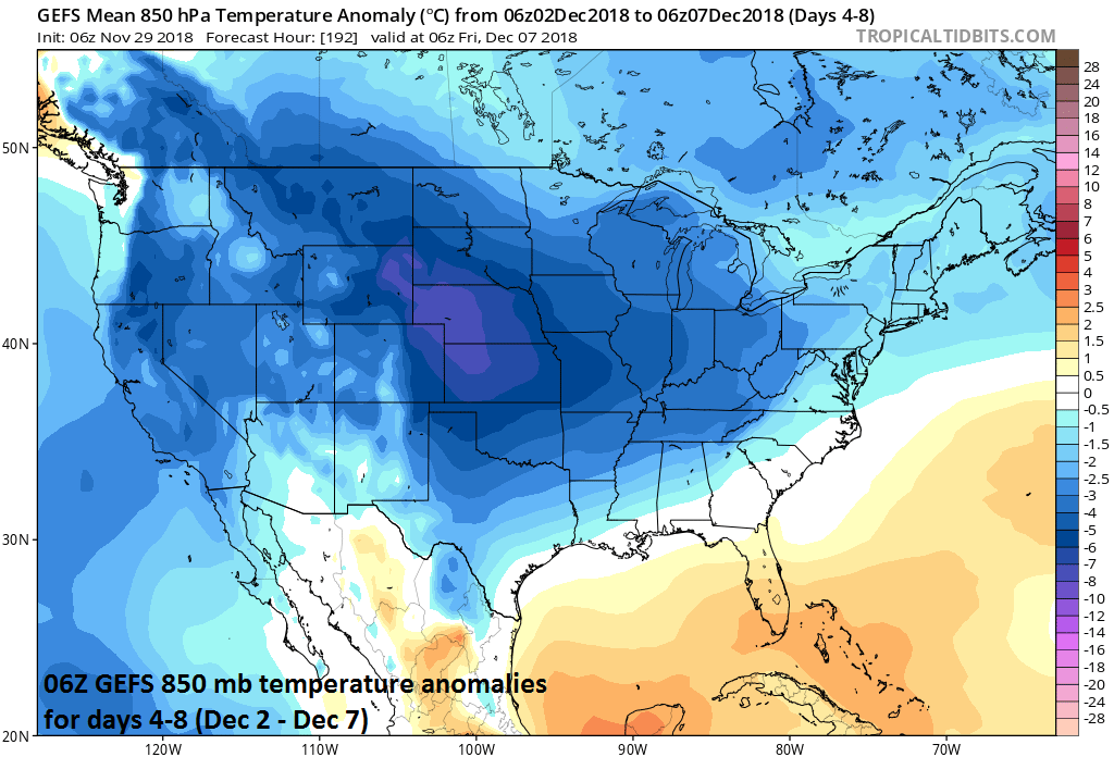Colder-than-normal conditions expected during days 4-8 across virtually the entire nation; courtesy NOAA/EMC, tropicaltidbits.com