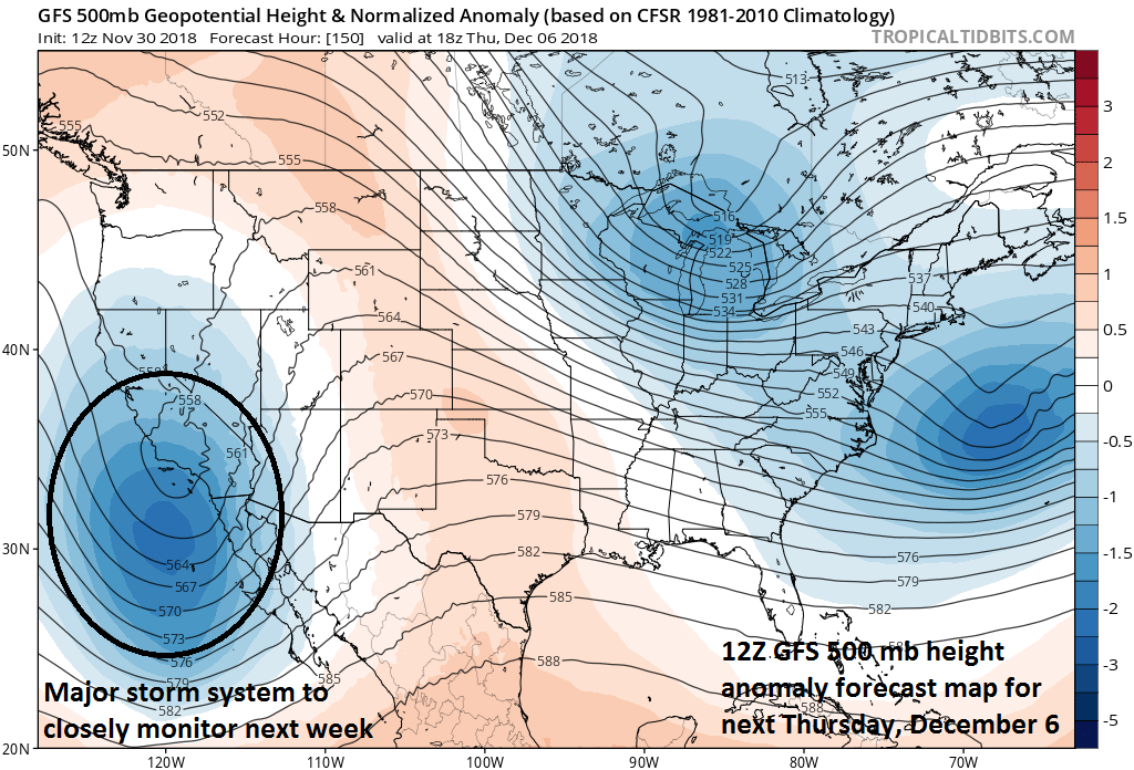 12Z GFS 500 mb height anomaly forecast map for next Thursday, December 6 with a deep upper-level just off the southwest coast of California; courtesy NOAA/EMC, tropicaltidbits.com