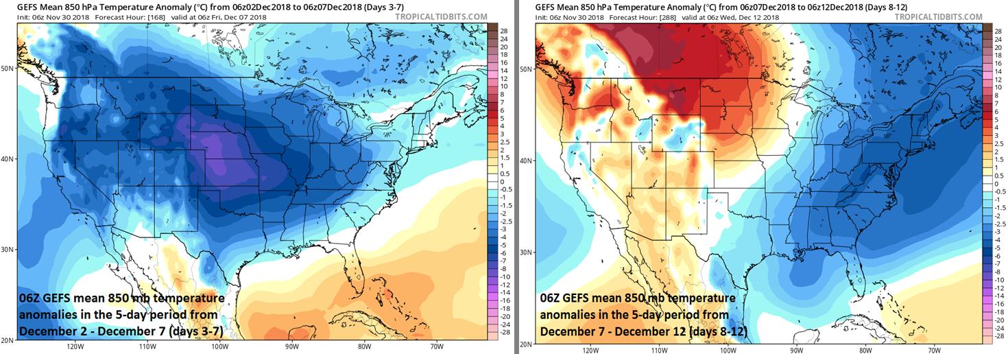 850 mb temperature anomalies for days 3-7 (left, December 2 - December 7) and days 8-12 (right, December 7 - December 12); courtesy NOAA/EMC, tropicaltidbits.com