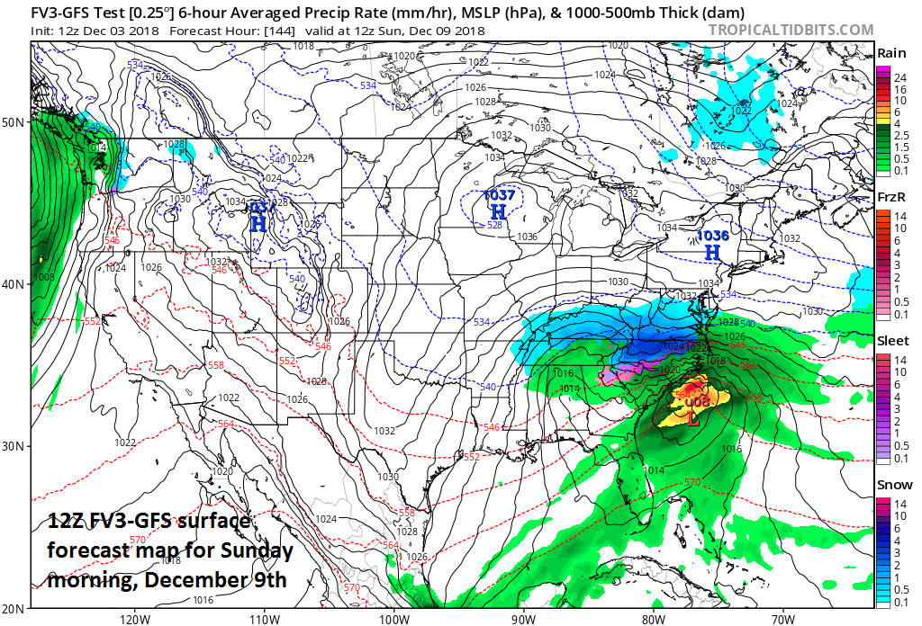 12Z FV3-GFS surface forecast map for Sunday morning, December 9th with snow extending northward from North Carolina into Virginia (shown in blue); courtesy NOAA/EMC, tropicaltidbits.com