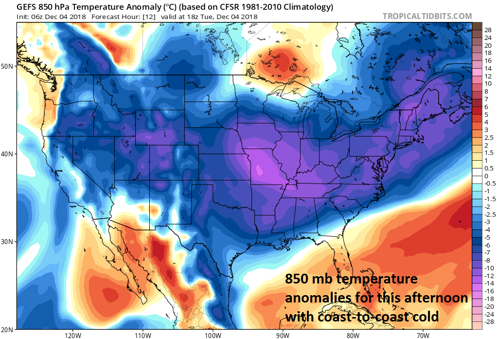 "The 850 mb temperature anomalies for this afternoon feature ""coast-to-coast"" cold; courtesy NOAA/EMC, tropicaltidbits.com"