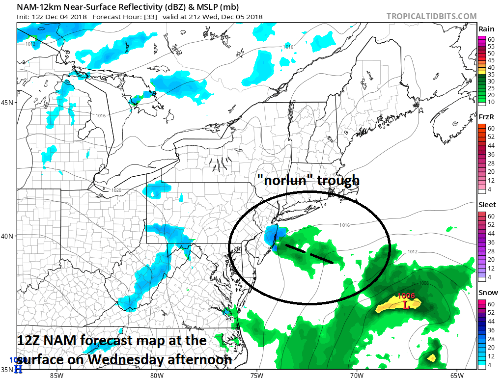 "12Z NAM surface forecast map for tomorrow afternoon with a ""norlun"" trough extending to the northwest of a low pressure center centered over the western Atlantic; courtesy NOAA, tropicaltidbits.com"