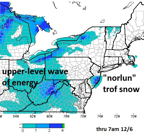 """Snow falling in two different regions today of the Northeast US/Mid-Atlantic from two different atmospheric processes (upper-level energy, """"norlun"""" trof); courtesy NOAA"""