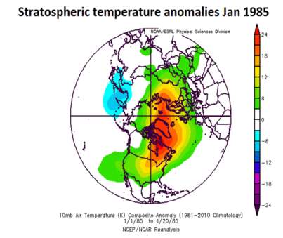 "Stratospheric temperature anomalies during January 1985 with much above-normal temperatures on this side of the North Pole. This map has a ""top-down"" view of the Northern Hemisphere with the North Pole located right in the center and the US is positioned in the lower-central portion. Courtesy NOAA"