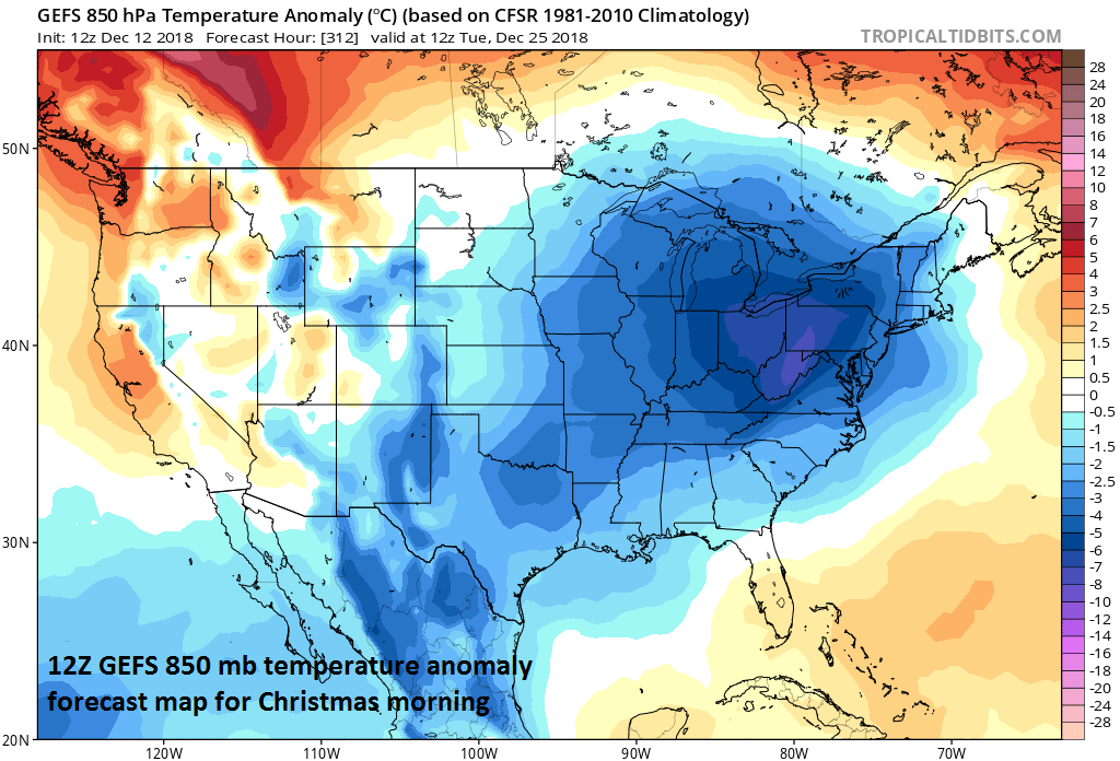 Long-range look at the 850 mb temperature anomalies for Christmas Day and the 12Z GEFS features quite cold air in the eastern half of the nation; courtesy NOAA/EMC, tropicaltidbits.com
