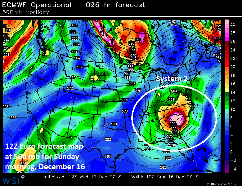 12Z Euro forecast map for Sunday morning with a strong wave of energy over the Southeast US; courtesy ECMWF, WSI, Inc.