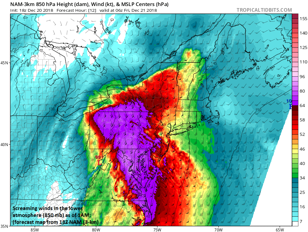 Powerful low-level jet to bring some very strong wind gusts to the Mid-Atlantic region in the overnight hours; courtesy NOAA/EMC, tropicaltidbits.com
