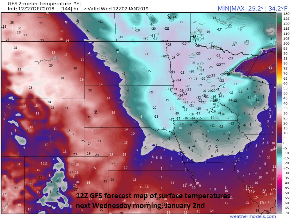 Early morning temperatures are predicted to be well below zero across Minnesota, Iowa and Wisconsin on Wednesday, January 2 (12Z GFS); map courtesy NOAA, weathermodels.com