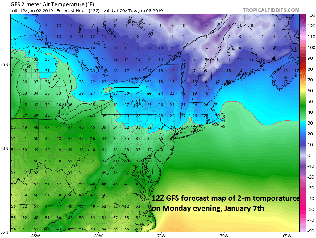 Very cold air will spread into southeastern Canada and New England early next week anchored by strong high pressure; courtesy NOAA/EMC, tropicaltidbits.com