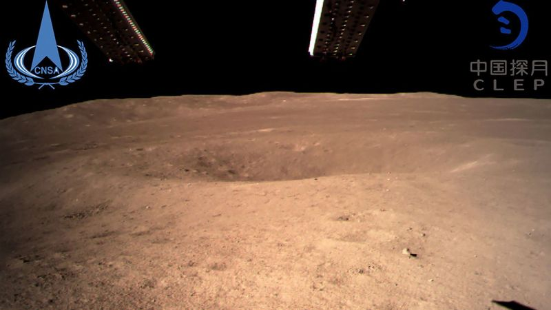 An image taken by the Chang'e-4 probe shows the far side of the moon. (China National Space Administration / AFP/Getty Images)