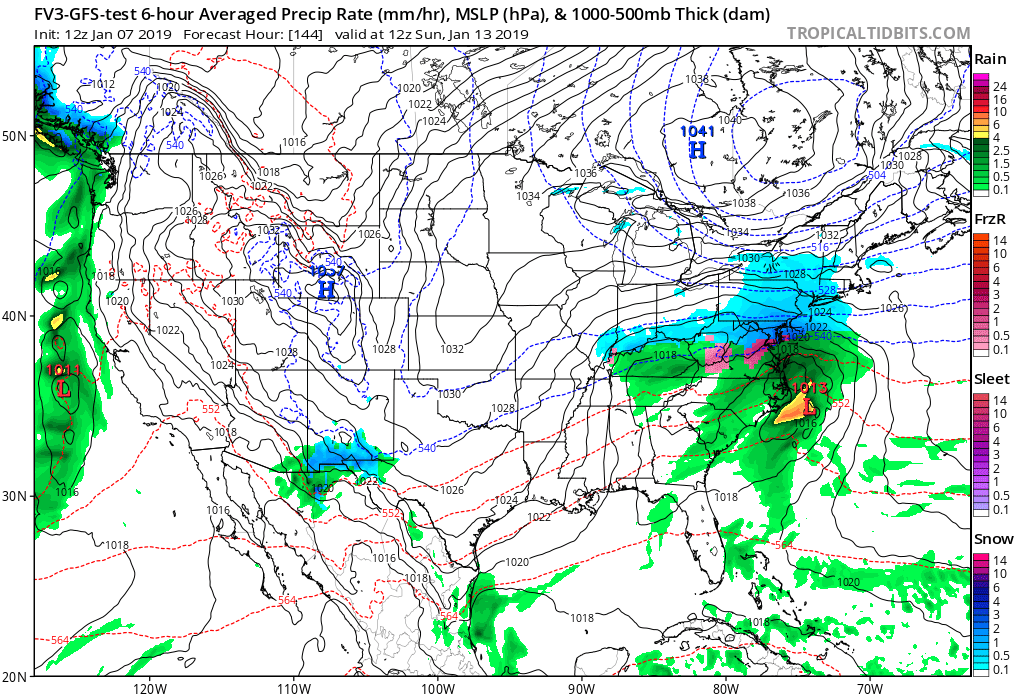 12Z GFS-FV3 forecast map for Sunday morning with low pressure organizing off the NC coastline and snow (in blue) in much of the Mid-Atlantic region; map courtesy NOAA/EMC, tropicaltidbits.com
