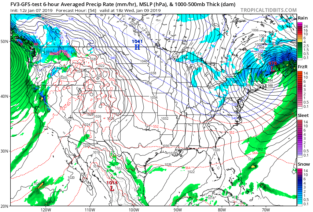 12Z GFS-FV3 forecast map for Wednesday afternoon with a tight pressure gradient in the Mid-Atlantic region which could result in wind gusts to 50 mph; map courtesy NOAA/EMC, tropicaltidbits.com