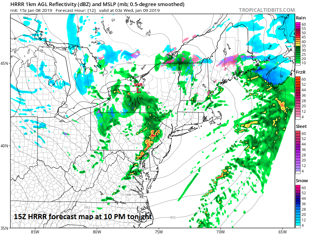 A high-resolution (HRRR) forecast map at 10 PM later tonight with a band of showers and possible thunderstorms extending over the I-95 corridor associated with a strong cold front; courtesy NOAA/EMC, tropicaltidbits.com